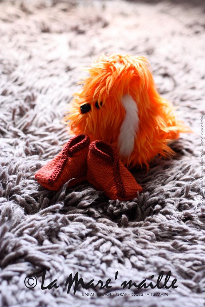 chausson bébé maille orange