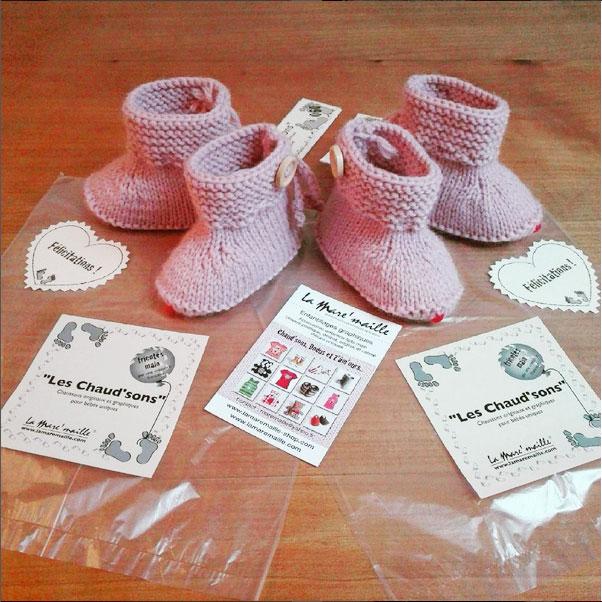 chausson-bébé-laine-rose-lamaremaille