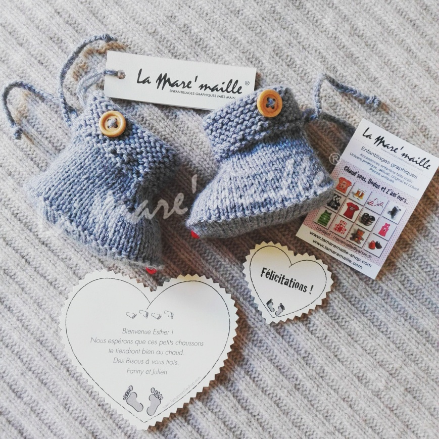 chaussons bébé gris en laine tricotée main